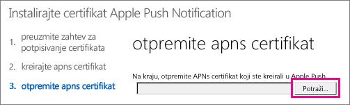 Otpremite certifikat koji ste napravili na Apple portalu za prosleđivanje certifikata.