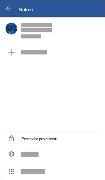 "Snimak ekrana menija ""Nalozi"""