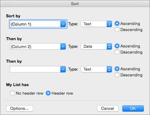 Prikazuje opcije koje možete da postavljate u dijalogu sortiranje.