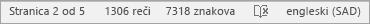 Prikaz broja znakova na statusnoj traci