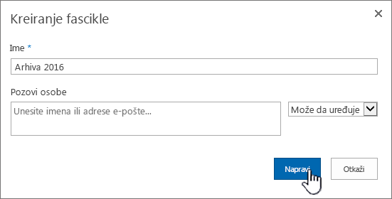"Dijalog ""Deljenje"" SharePoint 2016 nove fascikle"