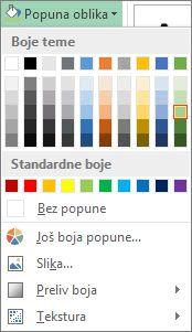 """Meni sa opcijama boja """"Popuna oblika"""""""
