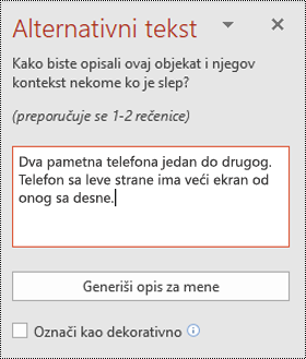 Alternativni tekst okno u programu PowerPoint za Windows