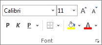 """Opcije u grupi """"Font"""""""
