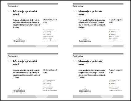 Pregled razglednice pre štampanja na kojem su prikazane četiri razglednice na listu papira.