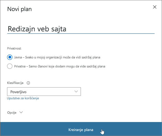 "Snimak ekrana prozora ""Novi plan""."