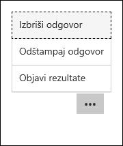 Brisanje, štampanje i objavljivanje opcija rezultata u Microsoft obrascima
