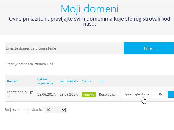 Freenom odaberite stavku upravljanje Domain_C3_2017530145413