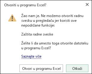 U dijalogu prilikom otvaranja radne sveske zaštićene lozinkom u programu Excel Online