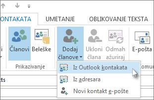 Dodavanje novih članova iz Outlook kontakata