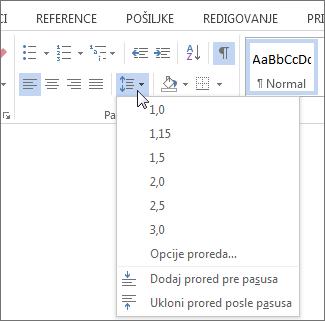 """Snimak ekrana kartice """"Početak"""" u programu Word, koji prikazuje meni """"Prored između redova i pasusa""""."""