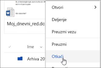 Stavka menija Upnpin u meniju datoteka kontekst istaknuta