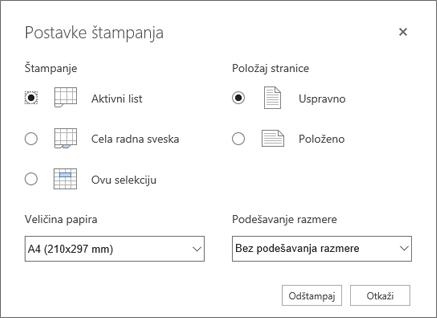 Opcije štampanja nakon što kliknete na dugme datoteka