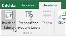 Izaberite stavke Umetni > izvedenu tabelu da biste umetnuli prazan izvedene tabele