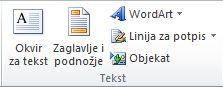 """Grupa """"Tekst"""" na kartici """"Umetanje"""" na traci programa Excel 2010."""