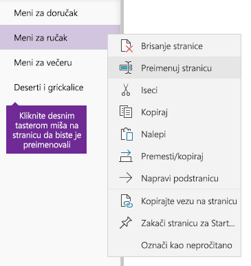Snimak ekrana preimenovanja stranice u programu OneNote