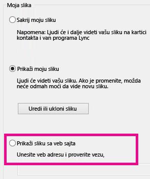 """Snimak ekrana odeljka prozora """"Opcije lične slike"""" programa Lync sa istaknutom izabranom slikom sa veb lokacije"""