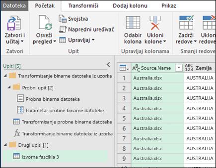 Kombinujte binarne datoteke pregleda dijalog. Pritisnite zatvori i Učitaj da biste prihvatili rezultate i da ih uvezete u programu Excel.