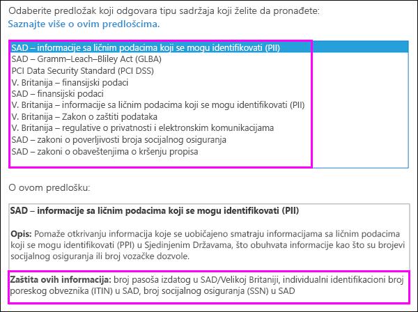 DLP smernica predložaka