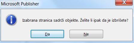 Dijalog sa upozorenjem o brisanju stranica koja sadrži objekte