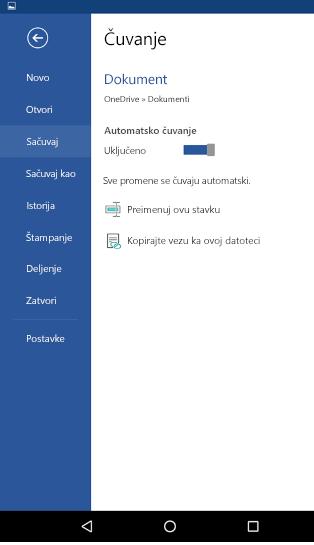 Snimak ekrana opcija automatsko čuvanje na Android telefonu