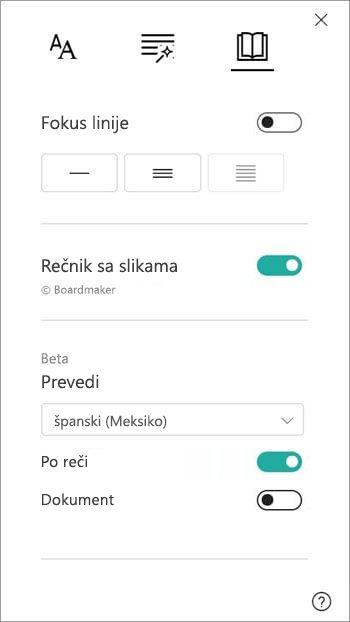 Opcije prevođenja se nalaze u odeljku rečnik slika.