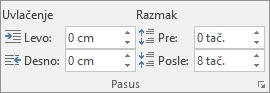 """Podesite razmak u programu Word, na kartici """"Raspored na stranici""""."""