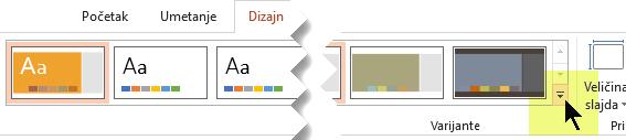 Kliknite na strelicu nadole koja otvara galeriju varijanti boja