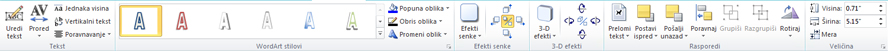"""Kartica """"WordArt alatke"""" u programu Publisher 2010"""