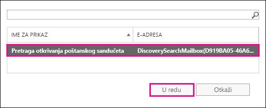 Kopirajte rezultate pretrage u podrazumevano poštansko sanduče pretrage otkrivanja