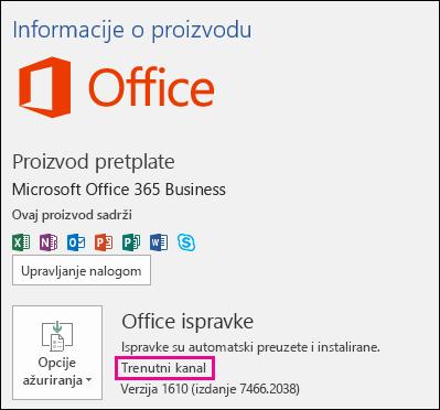 Informacije naloga o proizvodu za trenutni kanal pretplate na Office 365 Business