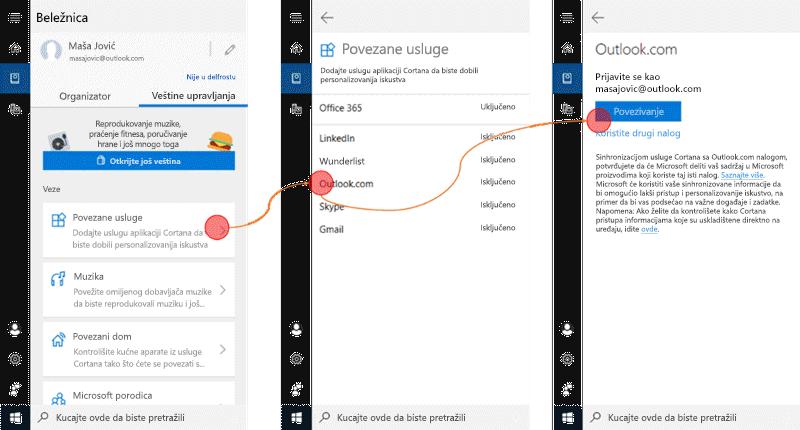 Snimak ekrana sa aplikacijom Cortana Open u operativnom sistemu Windows 10 i otvorenim meni povezanim uslugama.
