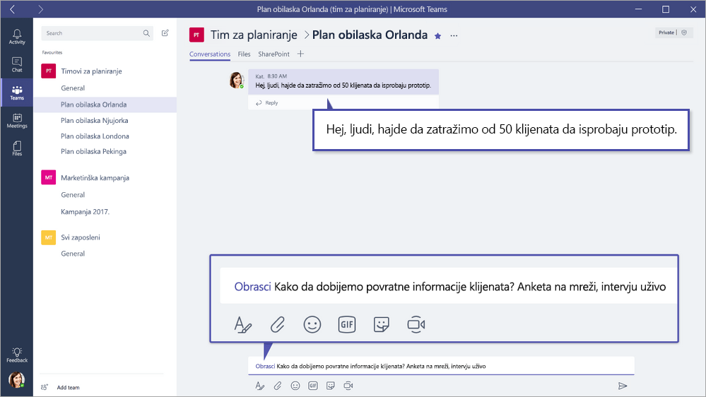 Microsoft Forms QuickPoll u Microsoft timovima