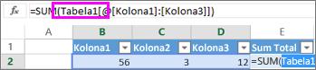 Ime tabele se pojavljuje u formulama