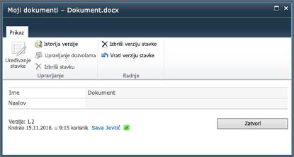 """Dijalog """"Istorija verzija sistema SharePoint 2010"""""""