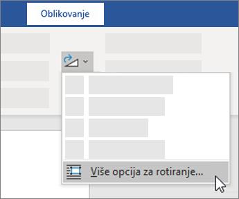 Još opcija rotiranja na traci u programu Word
