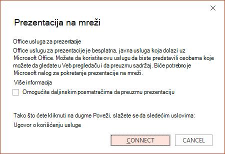 """Prikazuje opciju """"Datoteka > Deljenje > Prezentacija na mreži"""" u programu PowerPoint"""