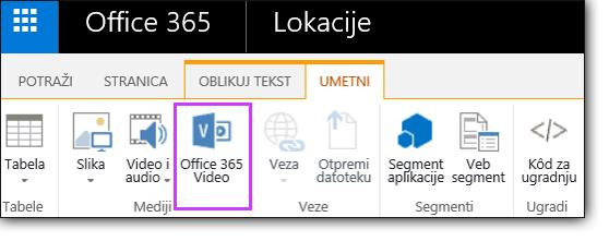 Office 365 Video ugrađivanje video zapisa