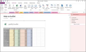Pregled Excel unakrsne tabele na stranici u programu OneNote