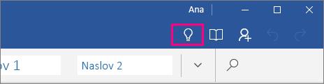 """Prikazuje gde se nalazi ikona """"Recite mi"""" na traci u programu Word Mobile"""