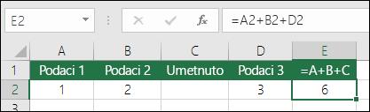 Formule =A+B+C neće se ažurirati ako dodate redove