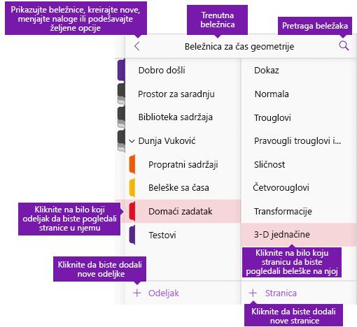 Novi korisnički interfejs programa OneNote