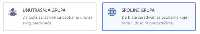Snimak ekrana koji prikazuje da možete odabrati da napravite unutrašnju ili spoljnu grupu