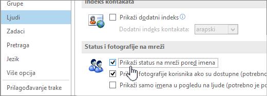 """Kartica """"osobe"""" u dijalogu """"Opcije"""" sa istaknutim Prikaži status na mreži"""