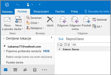 Slika toga kako izgleda kada imate Outlook.com nalog u programu Outlook 2016.
