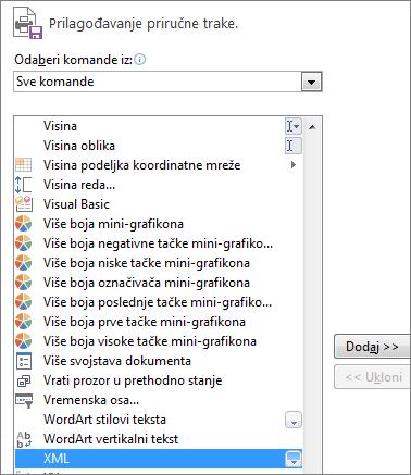"""Na listi komandi odaberite stavku """"XML"""", a zatim izaberite stavku """"Dodaj""""."""