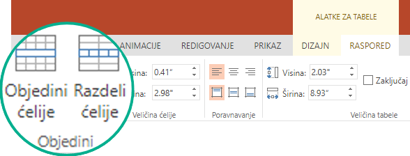 U okviru alatke za tabele, na kartici raspored, u grupi objedinjavanje izaberite stavku Objedini ćelije.