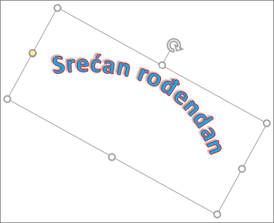 Rotiranje WordArt stavke regulatorom za rotiranje