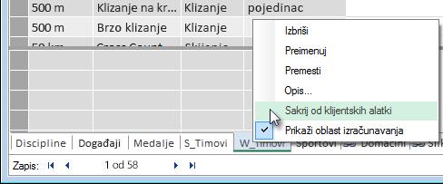 kako se sakrivaju tabele od Excel klijentskih alatki