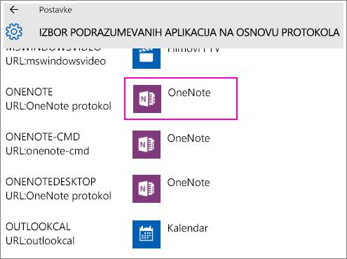 Snimak ekrana OneNote protokola u postavkama operativnog sistema Windows 10.